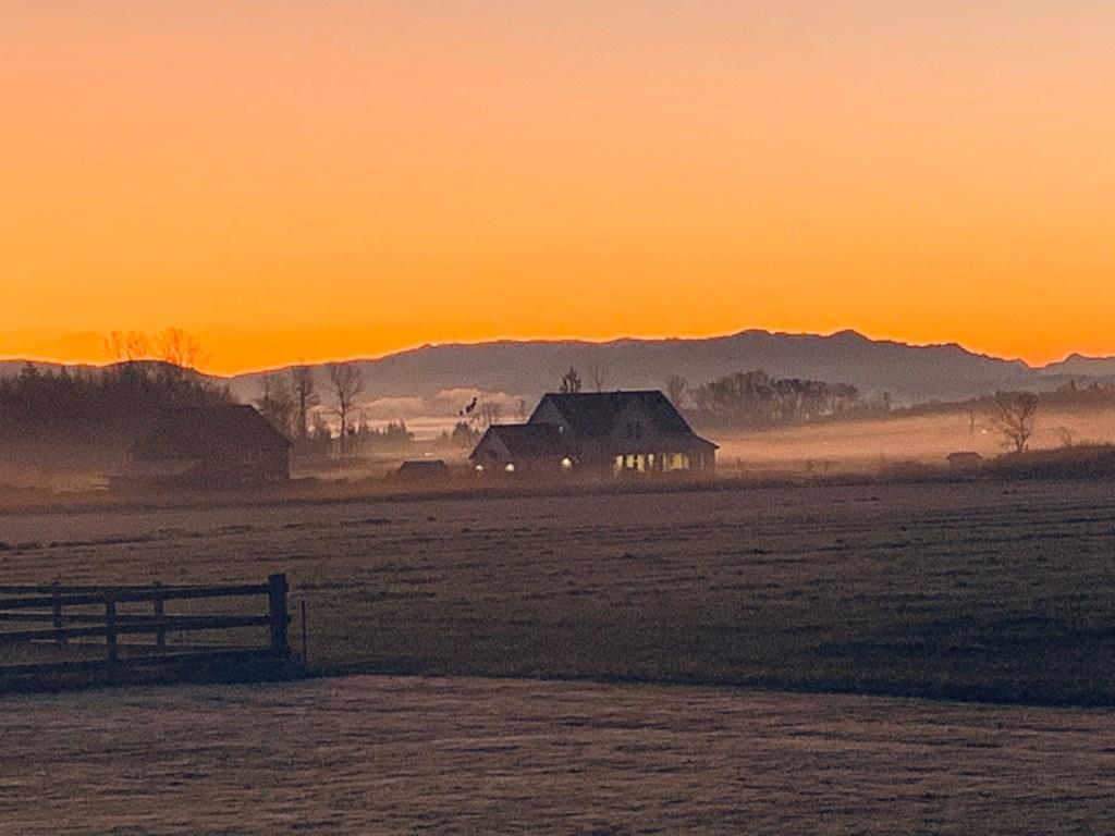 Sunrise from Unick Road (November 8, 2019). Photo courtesy of Annika Puckering.