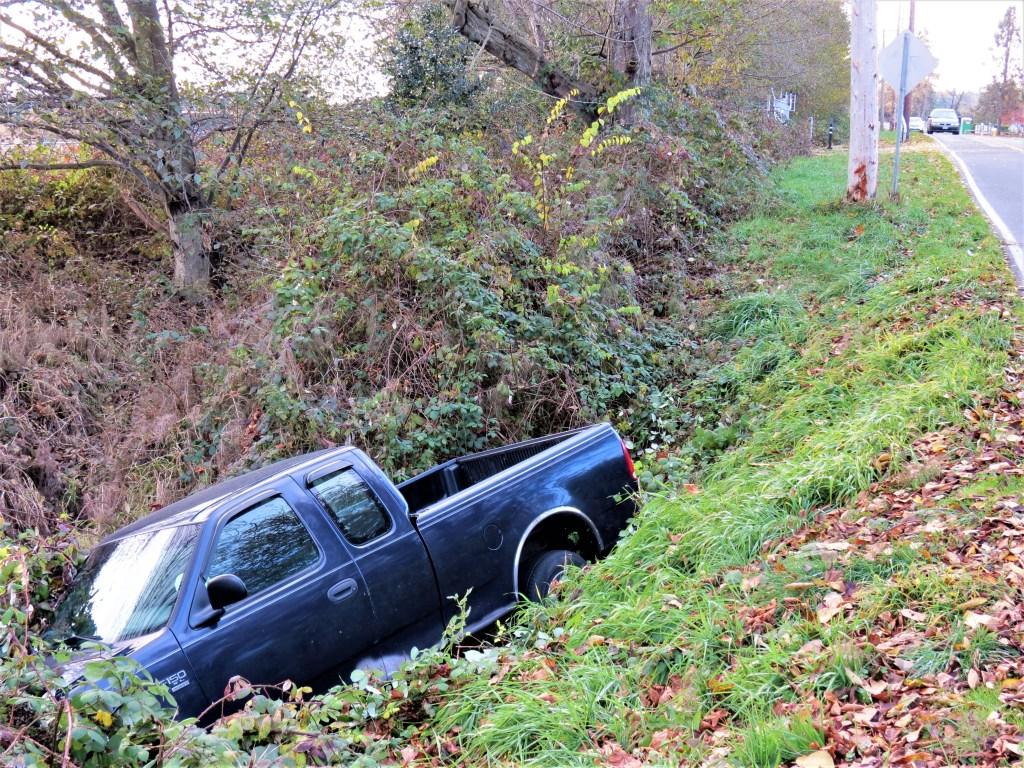 Scene of single-vehicle vs pole crash in the 2300 block of Douglas Road (November 10, 2019). Photo: My Ferndale News
