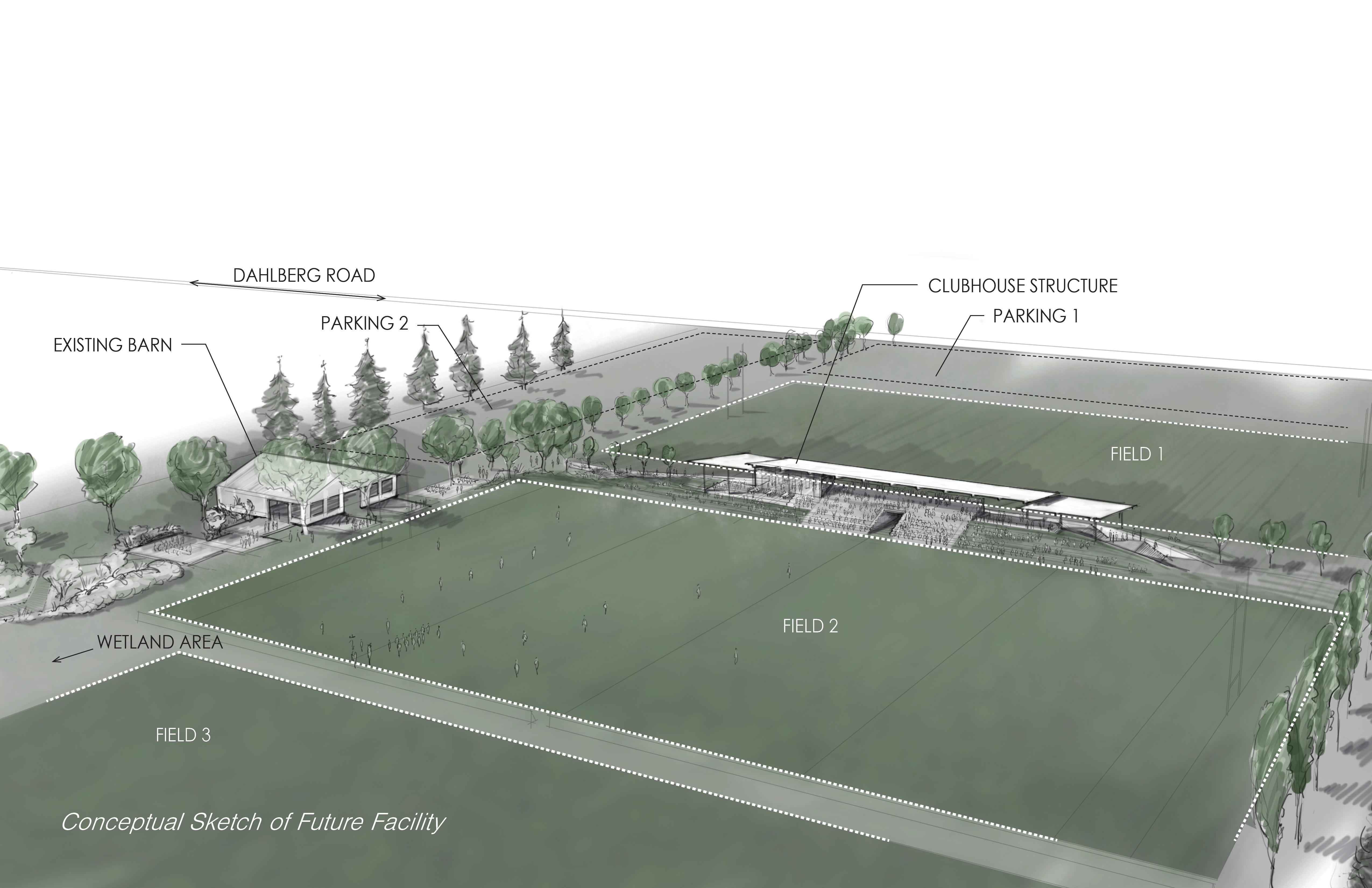 Aerial rendering of upgrades and new clubhouse design at the Chuckanut Bay Rugby Fields. Courtesy of Johnston Architects, Seattle.
