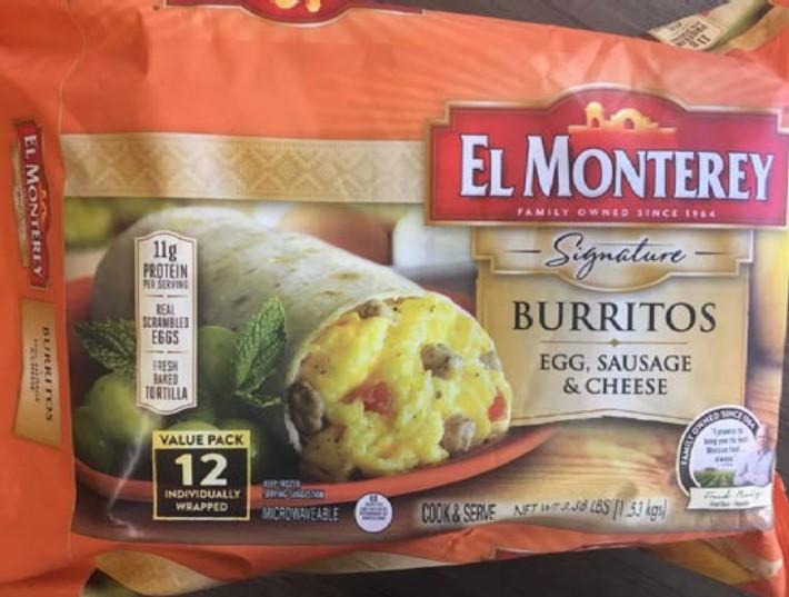El Monterey Signature Burritos front of package. Source: FSIS