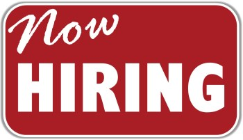 now hiring sign graphic
