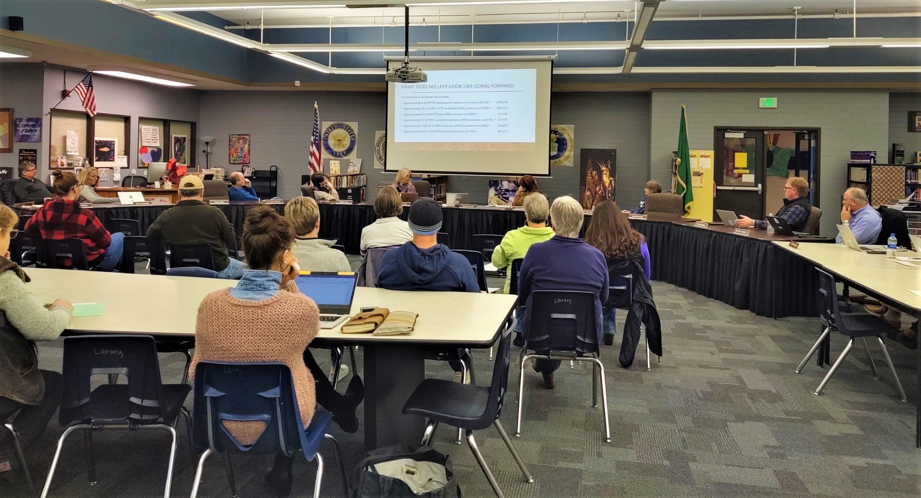 Ferndale School Board emergency special meeting at Vista Middle School library (February 17, 2020). Photo: My Ferndale News