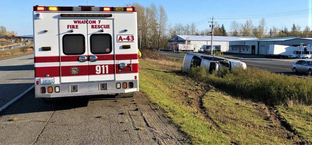 Scene of a rollover crash on southbound I-5 south of the Main Street interchange (April 9, 2020). Photo: Courtesy of WCFD7