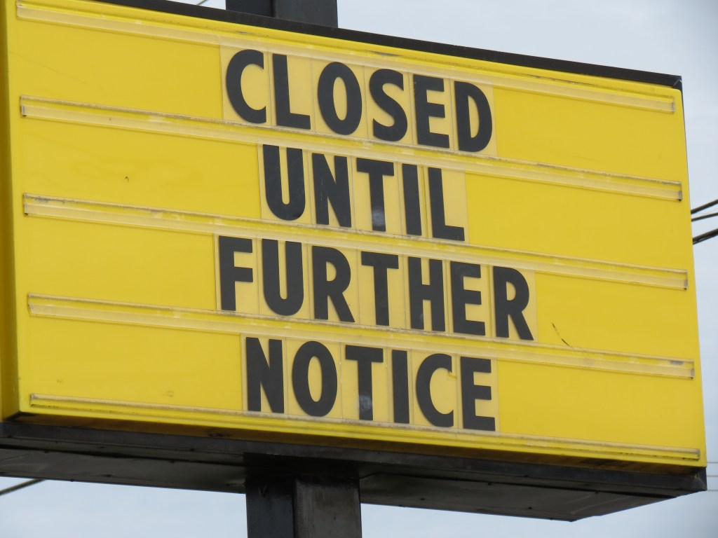 Business closed reader board message during COVID-19 closures (April 17, 2020). Photo: My Ferndale News