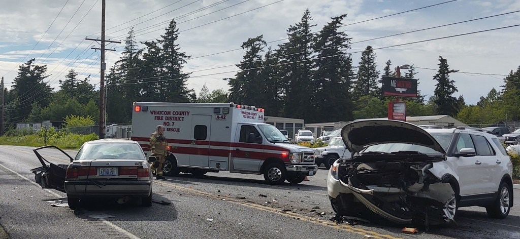 Scene of a 2-vehicle head-on crash west of the intersection of Slater and Elder Roads (June 5, 2020). Photo: My Ferndale News