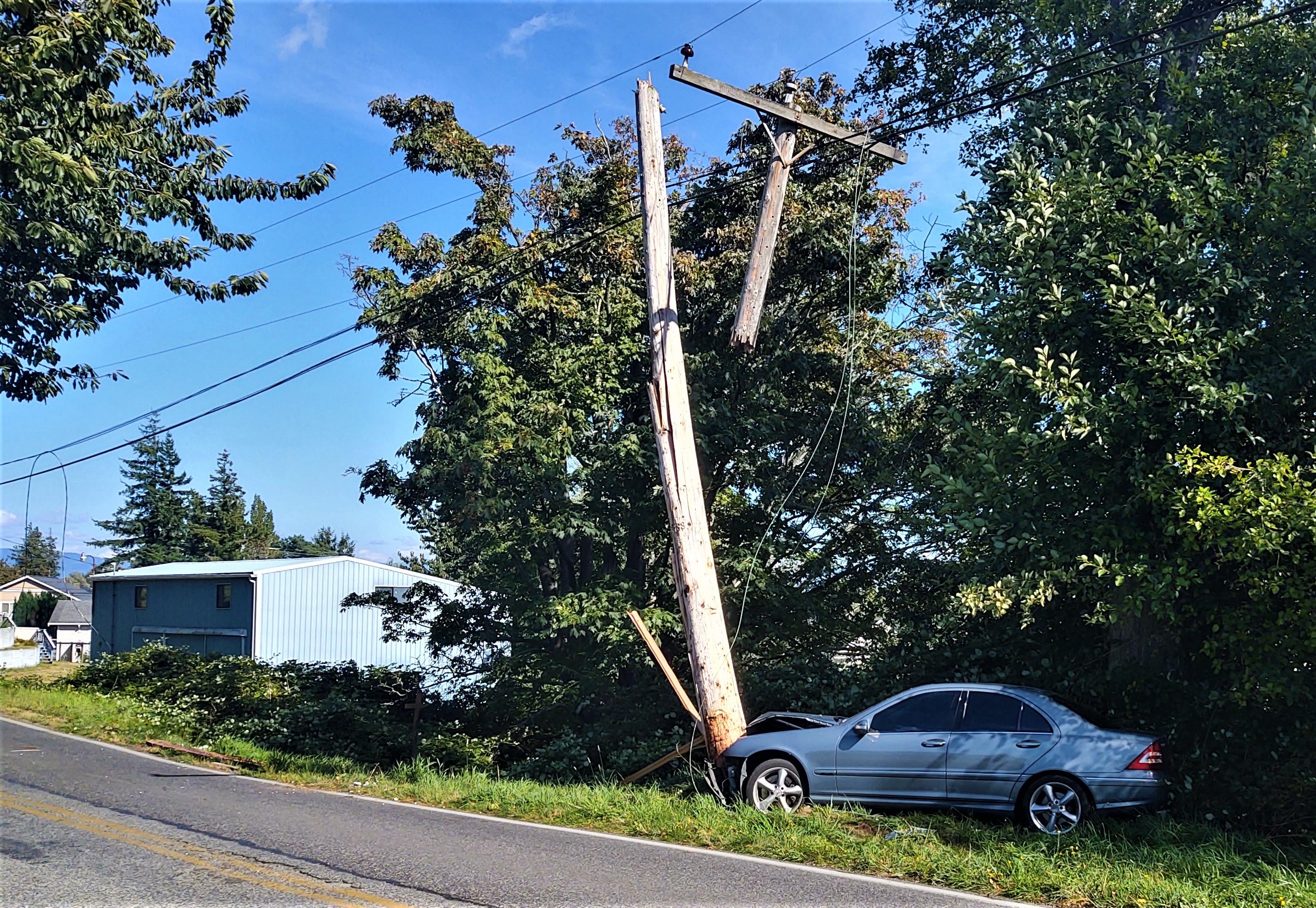 Scene of car vs pole crash on Douglas Road (August 29, 2020). Photo: My Ferndale News