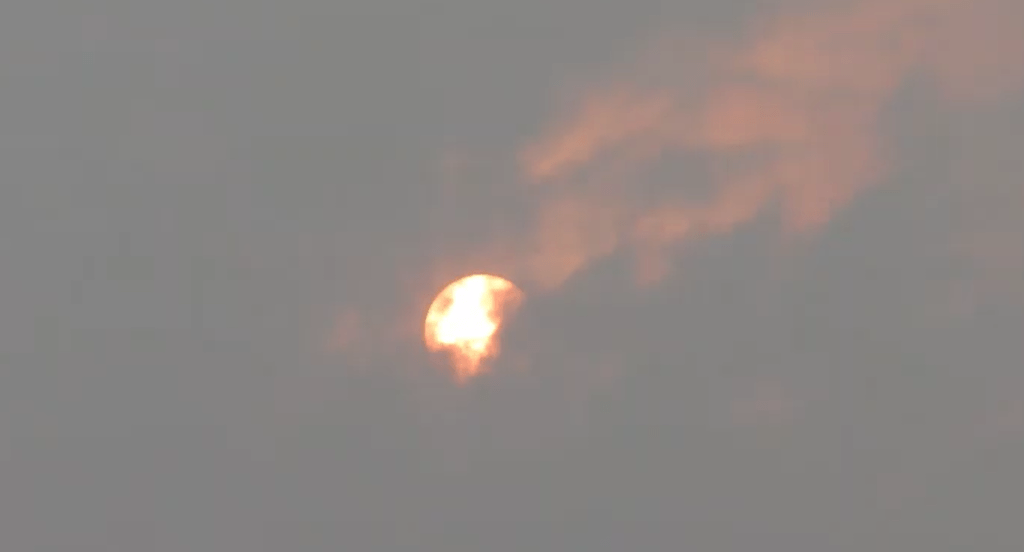 The Sun is visible behind clouds amidst heavy wildfire smoke (September 16, 2020). Photo: My Ferndale News