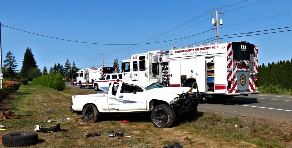 Scene of a rollover crash in the 6200 block of Northwest Drive (September 4, 2020). Photo: My Ferndale News