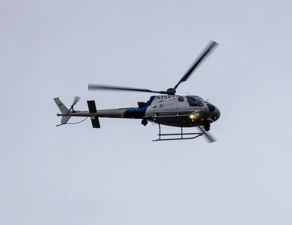 US Customs and Border Protection helicopter (October 19, 2020). Photo courtesy of Lisa Abbott