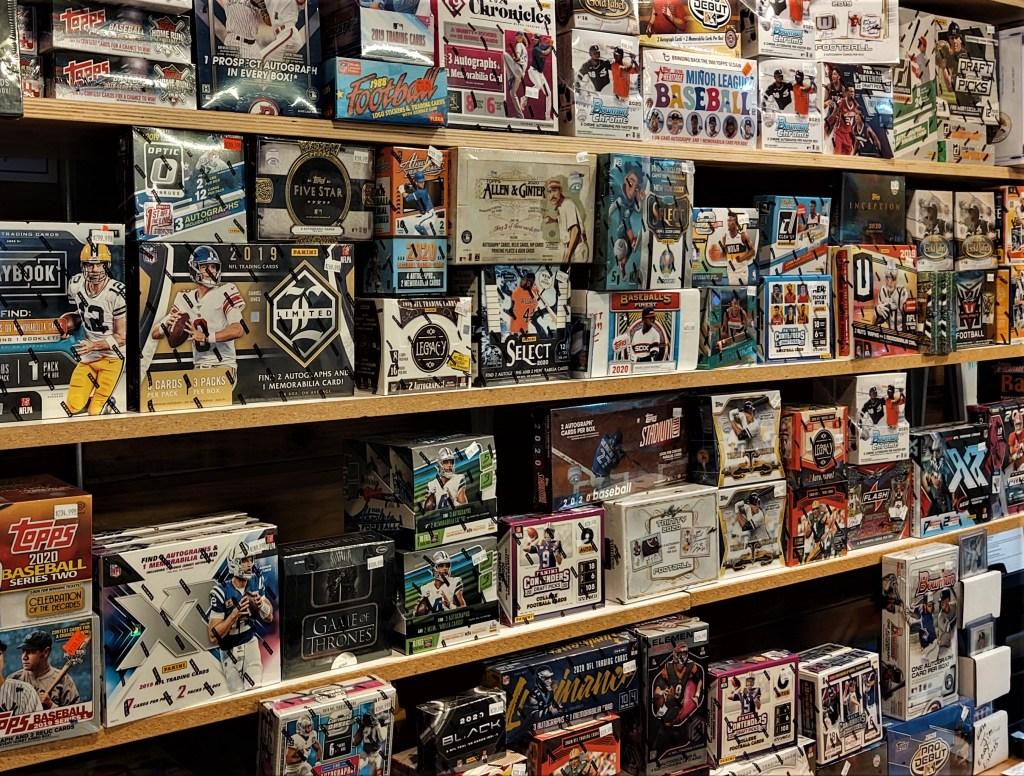 "Remaining ""hobby box"" product after a burglary at Joe's Sports Cards (November 14, 2020). Photo: My Ferndale News"