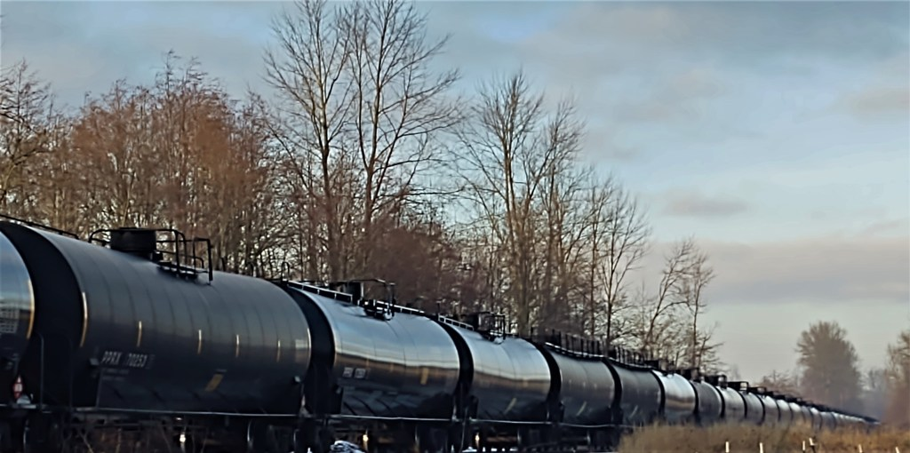 Rail tank cars parked on Ferndale siding (December 22, 2020). Photo: My Ferndale News