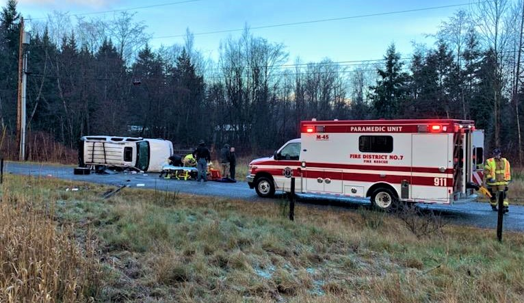 Rollover crash on I-5 during hailstorm that ended up on Creasy Road (December 11, 2020). Photo courtesy of WCFD7