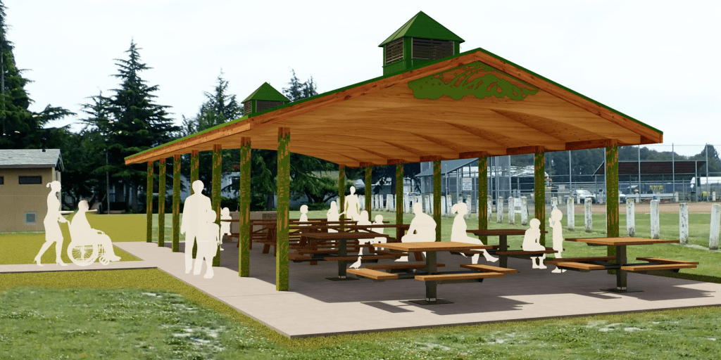 Artistic rendering of proposed Pioneer Park picnic shelter. Source: City of Ferndale