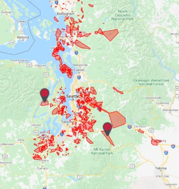 Power outage map (January 13, 2021). Source: Puget Sound Energy