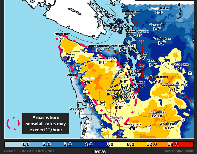 Western Washington snow forecast for February 12th through February 13th morning. Source: National Weather Service Seattle