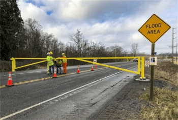Whatcom County photo of 1 of the road barriers installed on Slater Road. Source: Whatcom County Public Works