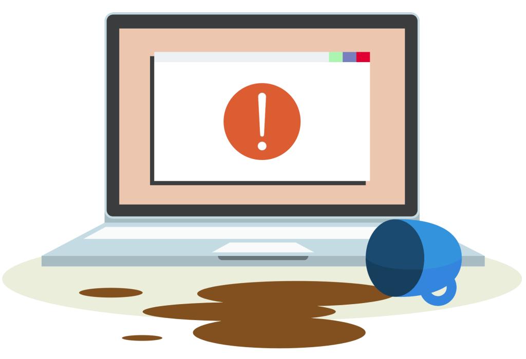 Microsoft error coffee spill illustration. Source: Microsoft