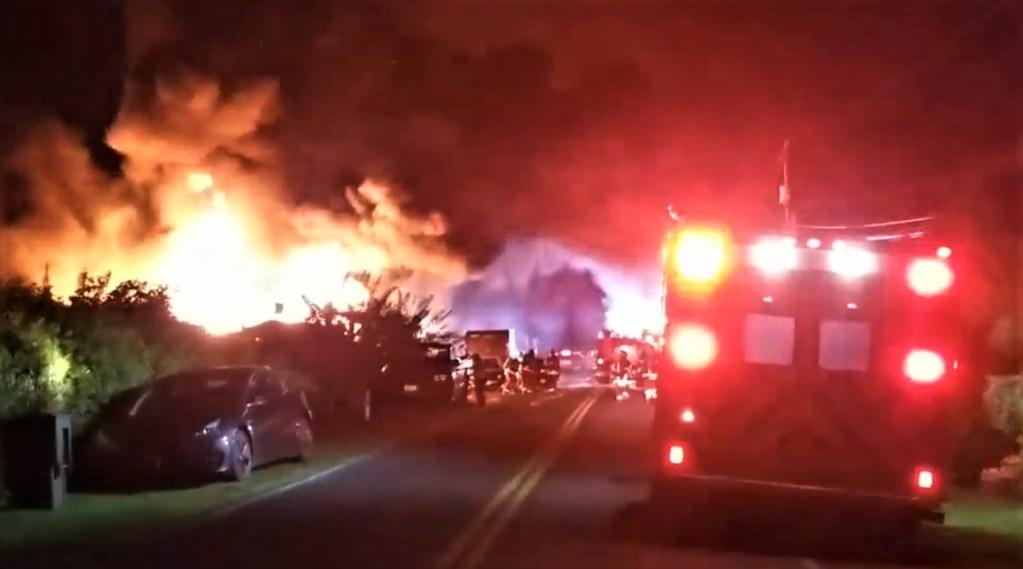 Scene of a residential fire on Lummi Island (May 15, 2021). Photo courtesy of Lummi-Island.com