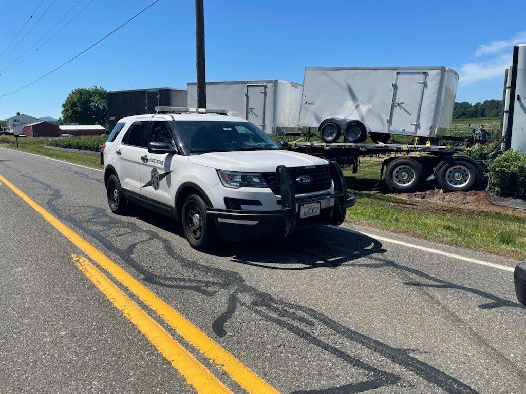 Scene of a car v semi-truck fatality crash on Lawrence Road (SR9) (June 23, 2021). Photo courtesy of WSP