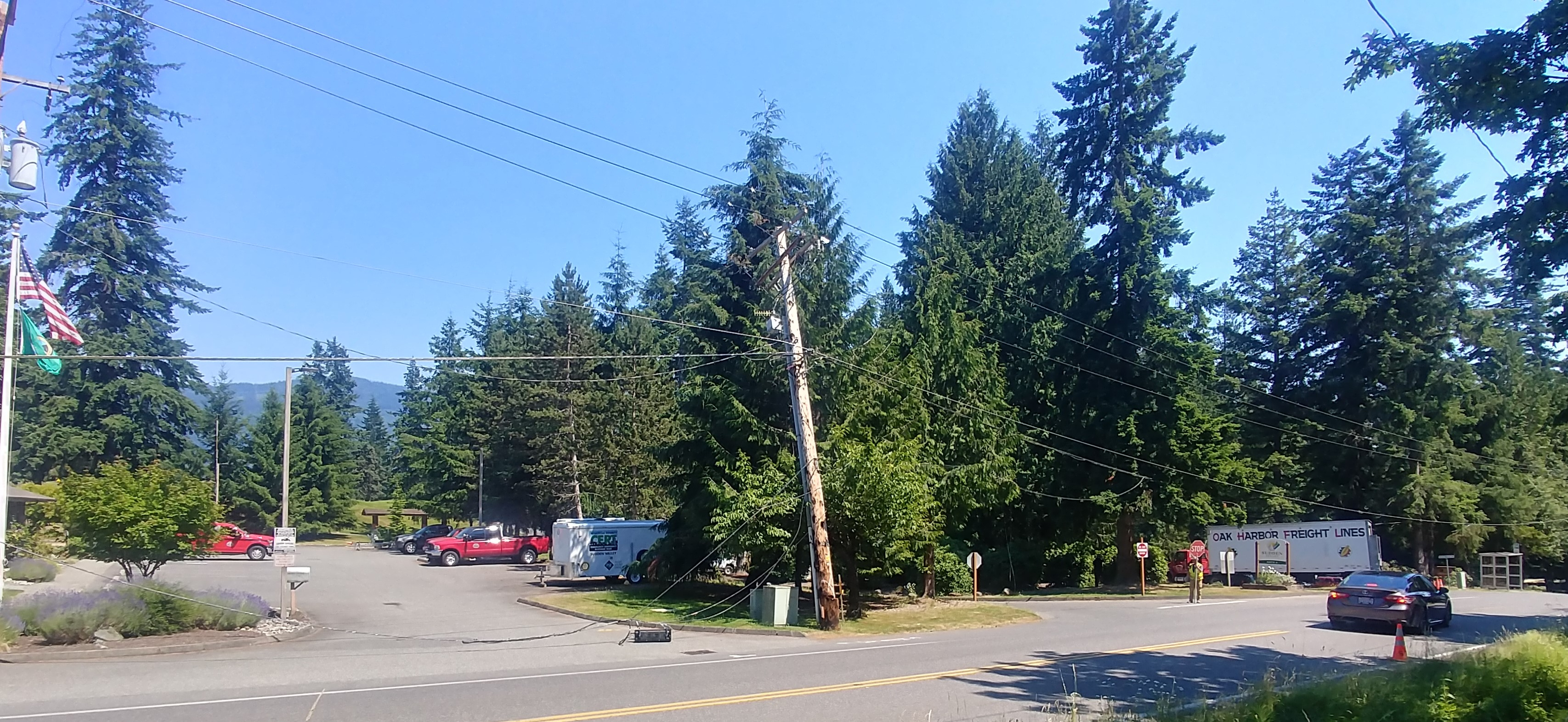 View of broken power pole and downed lines at Gate 1 in Sudden Valley (June 28, 2021). Photo: Hilary Parker