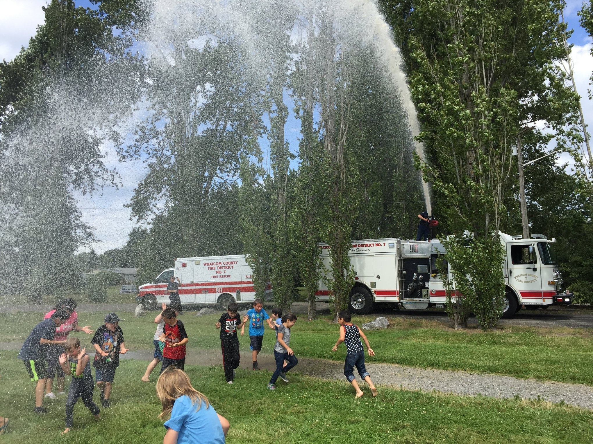 WCFD7 provides a cooling off opportunity in VanderYacht Park (September 9, 2019). Photo courtesy of City of Ferndale