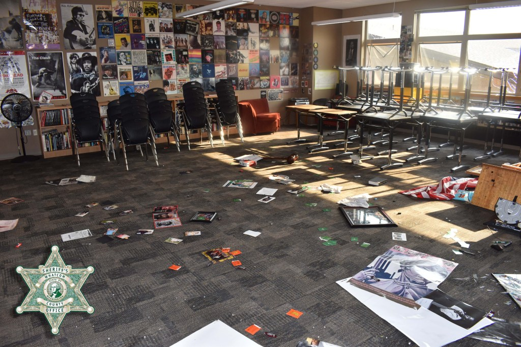 Vandalized classroom at Meridian High School (August 12, 2021). Photo courtesy of WCSO