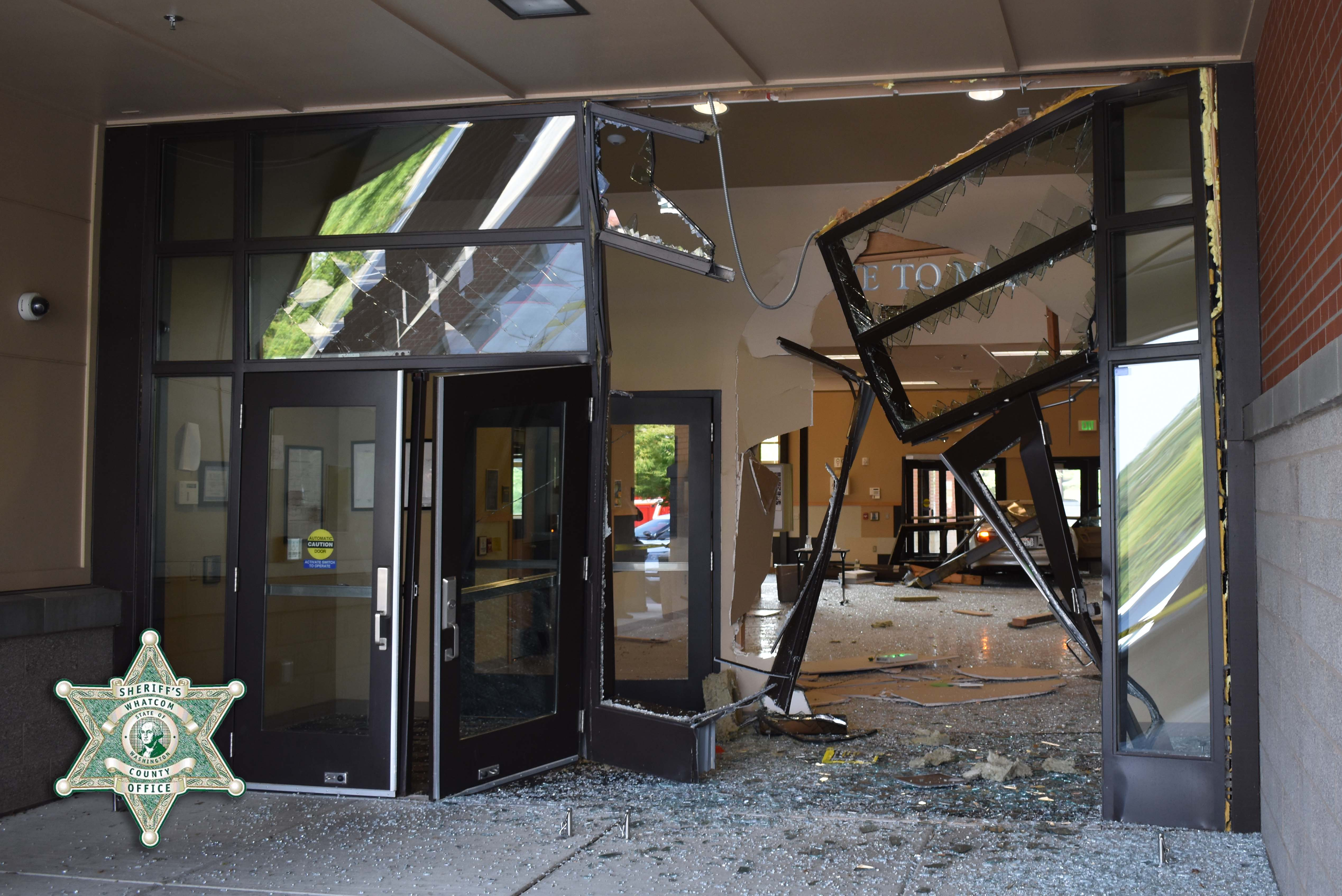 View of damage after a car crashed into a building on the Meridian High School campus (August 12, 2021). Photo courtesy of WCSO