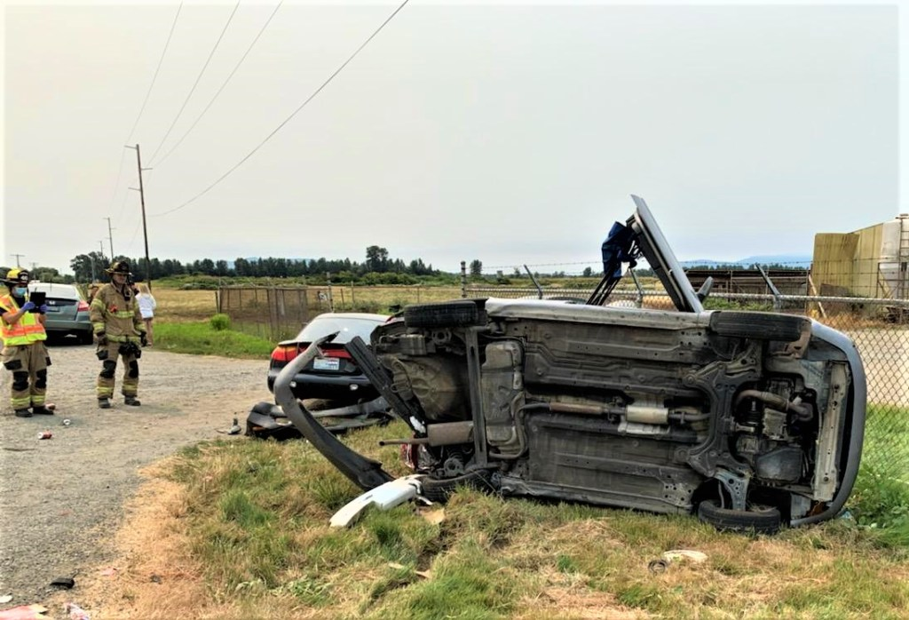 Scene of a rollover crash on Imhof Road (August 1, 2021). Photo courtesy of WCFD7