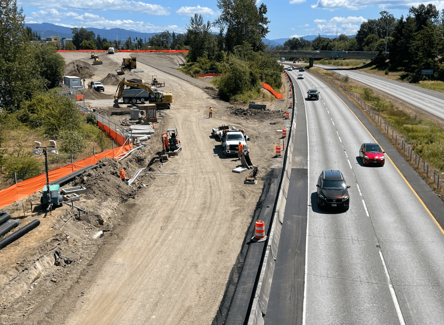 Construction of a 2nd on-ramp at the W Bakerview Road I-5 interchange (August 10, 2021). Photo courtesy of WSDOT