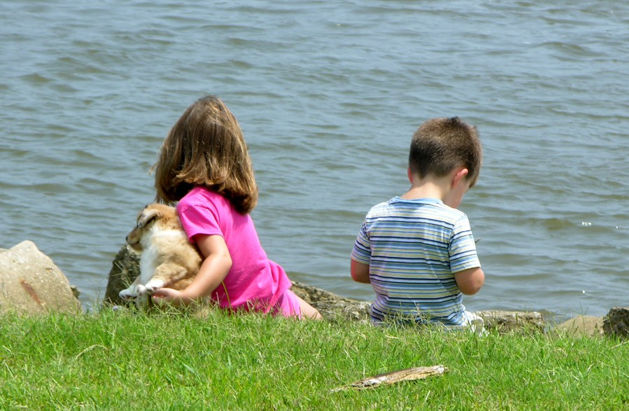 children sit near shore