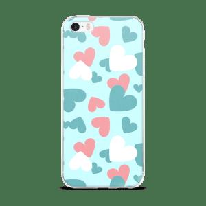 CREATIVE DESIGN A-FOCUS PINK BLUE WHITE HEARTS iPhone 5/5s/Se, 6/6s, 6/6s Plus Case