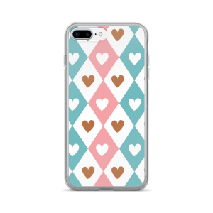Decorative Seamless Pink Blue White Brown Hearts Pattern iPhone 7/7 Plus Case