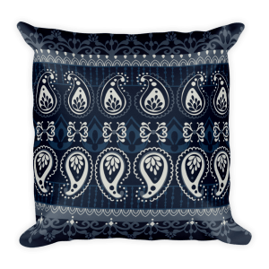India - White - Blue Square Pillow