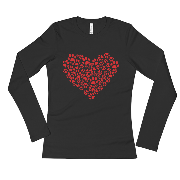 Ladies' ANIMAL LOVER DOG CAT PAWS HEART Long Sleeve T-Shirt