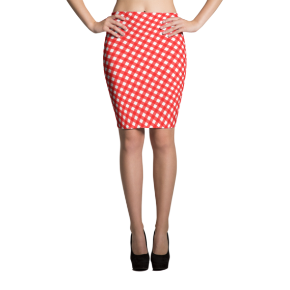 Striped Red White Checker Gingham Sublimation Cut & Sew Pencil Skirts