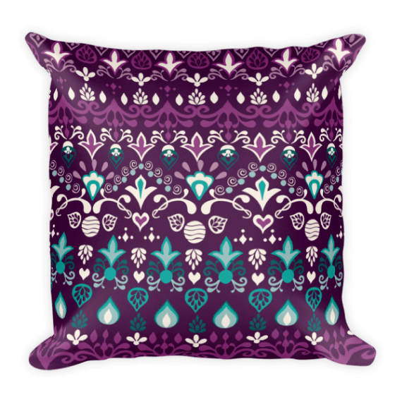 Tribal Blue Violet Square Pillow