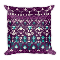 Tribal Blue Violet Square Pillow