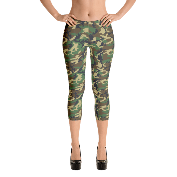USA Women's Woodland Camouflage Capri Leggings