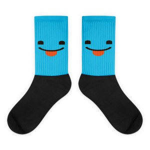 Blue Face With Stuck Out Tounge Black foot socks