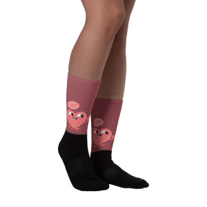 Cartoon Funny Heart Black foot socks