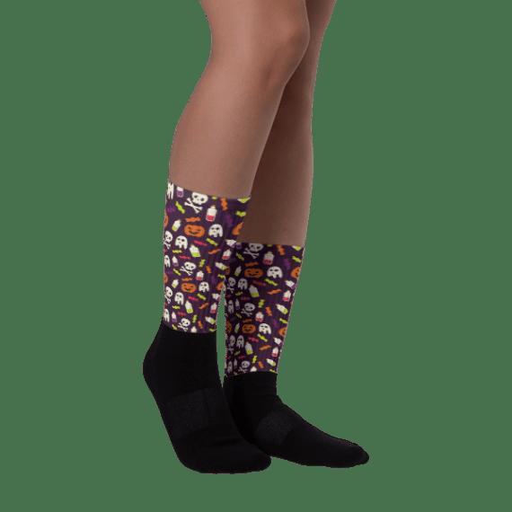 Colorful halloween pattern Black foot socks