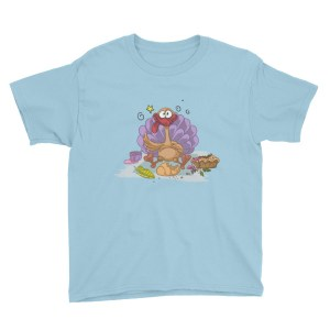Funny Big Turkey Eating Youth Short Sleeve T-Shirt