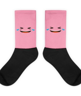 Pink Face With Tears Of Joy And Tightly Closed Eyes Black foot socks