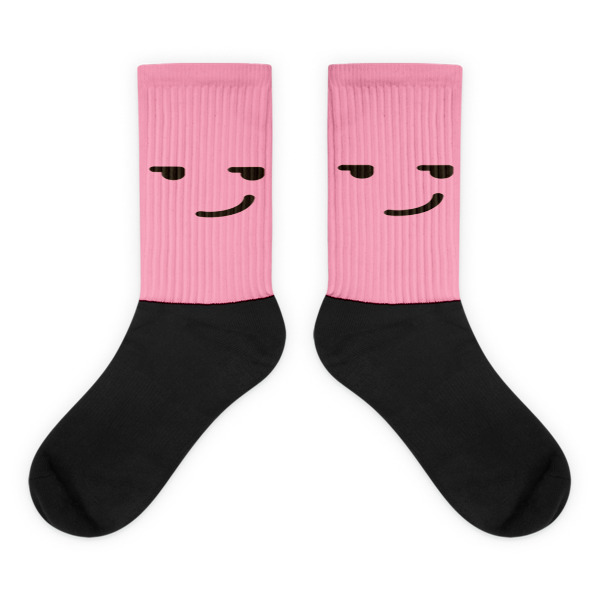Smirking Pink Face Black foot socks