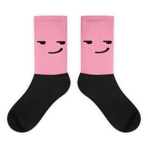 Smirking Pink Face Black foot socks