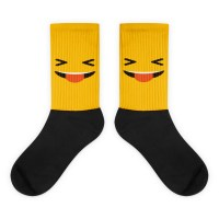 Yellow Face With Stuck Out Tongue And Tightly Closed Eyes Black foot socks