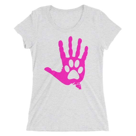Ladies' Pink Hand And Paw short sleeve t-shirt