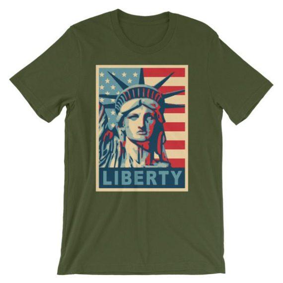Unisex Statue of Liberty Poster short sleeve t-shirt