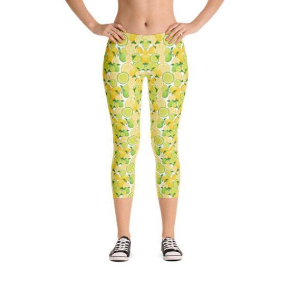 Lemon and Lime Capri Leggings