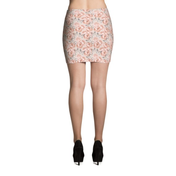 Peony Roses and Butterfly Mini Skirt
